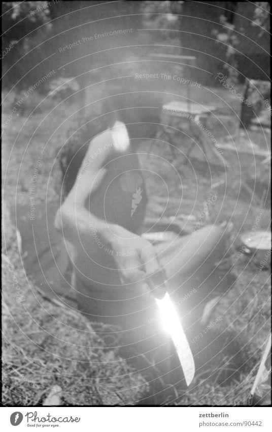 Man Youth (Young adults) Sun Summer Meadow Garden Grass Fear Glittering Dangerous Threat Panic Knives Young man Nutrition