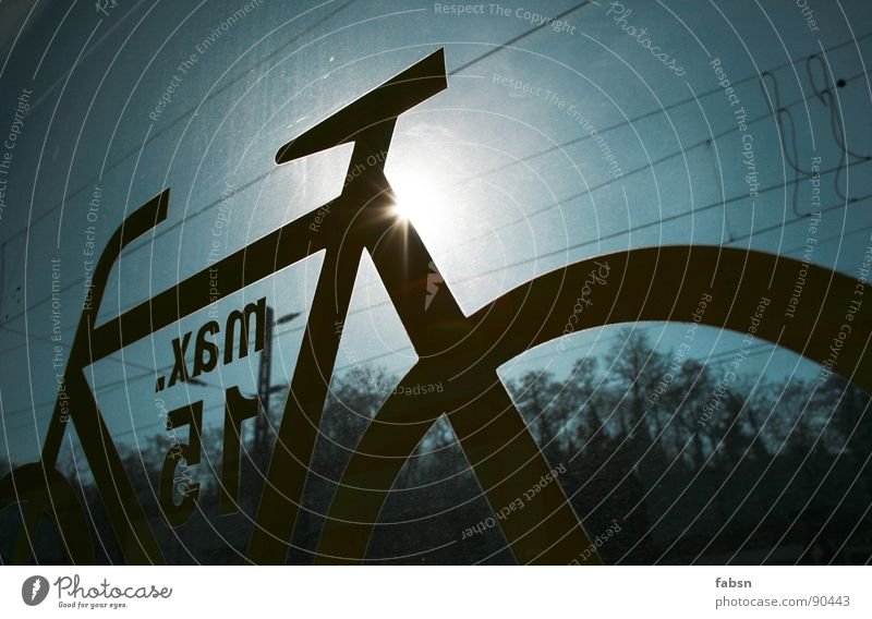 towards the sun Bicycle Pictogram Railroad Window Window pane Summer Jump Sky Tree Electricity Electronic Back-light Light Public service Signage pic picture
