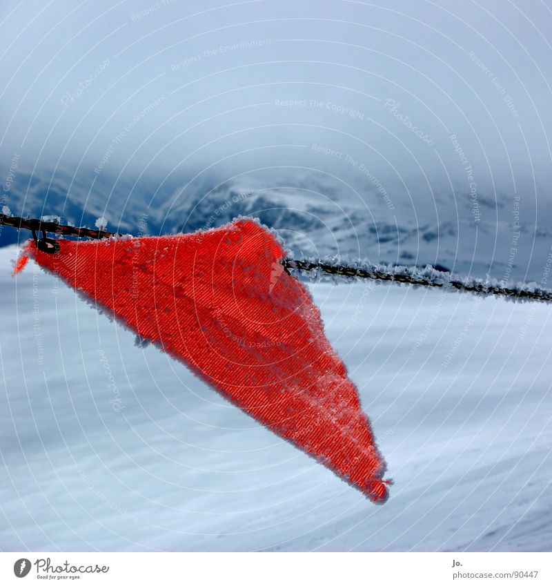 flag in the wind Clouds Flag Red Risk of collapse Skiing Bad weather France Mountain Alps Not this way! Les 3 Vallées Border