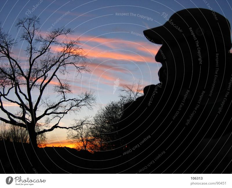 SOMEWHERE IN AFRICA Africa Sunset Red sun Tree Night Man Park Relaxation Clouds Redness Baseball cap Cap Black dresden africa Shadow contour Silhouette Nature