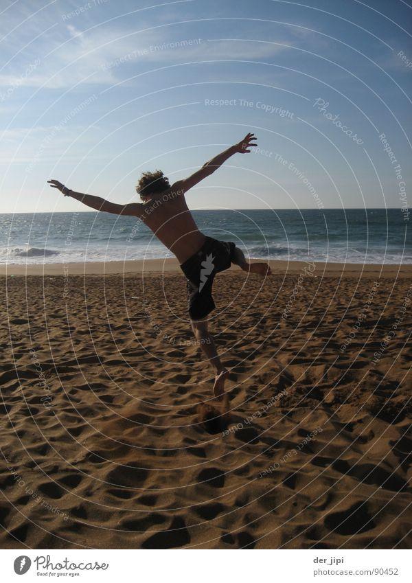 Time for Nothing Beach Vacation & Travel Ocean Waves Fellow Man Jump Coast Morocco Back-light Snapshot Physics Hot Exterior shot Joy Summer Happy Sand Shadow