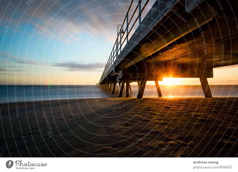 The footbridge Clouds Horizon Sun Sunrise Sunset Sunlight Coast Beach Ocean Australia Footbridge Handrail Curiosity Hope Beginning Movement End