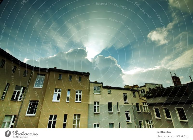 Sky Sun Clouds House (Residential Structure) Window Sadness Autumn Berlin Facade Living or residing Gloomy Copy Space Apartment Building Tower block Alley