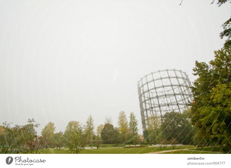 Günter Jauch Berlin Garden Gasometer Park Autumn Fog October Schöneberg Weather Sky Copy Space Industry plant Coking plant Cocaine Heating Energy industry Old