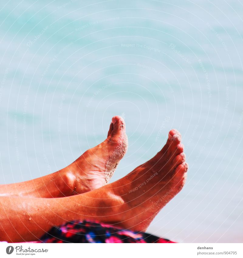 just lie in the sun Vacation & Travel Summer Beach Ocean Feet Beautiful weather Sand To enjoy Lie Glittering Naked Wet Thin Brown Contentment Wanderlust