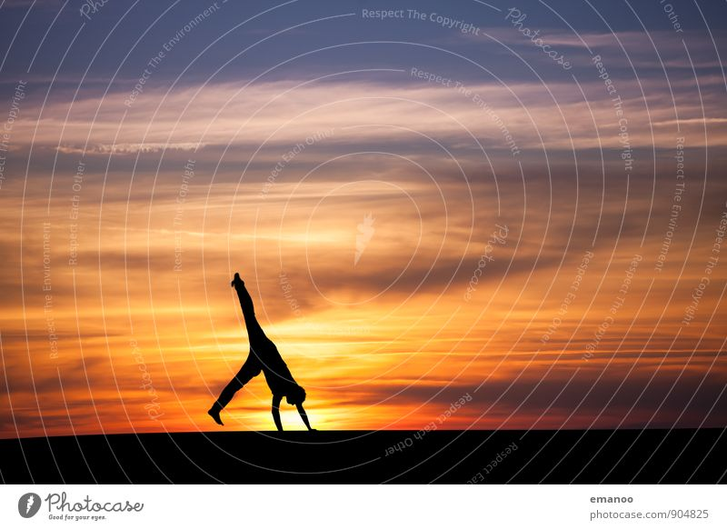 sunset cartwheel Lifestyle Joy Athletic Well-being Vacation & Travel Far-off places Freedom Sports Sportsperson Human being Young man Youth (Young adults) Body