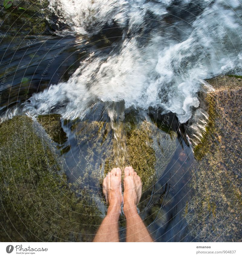 waterfall feet Lifestyle Style Joy Wellness Relaxation Vacation & Travel Trip Adventure Freedom Human being Masculine Man Adults Legs Feet 1 Nature Landscape