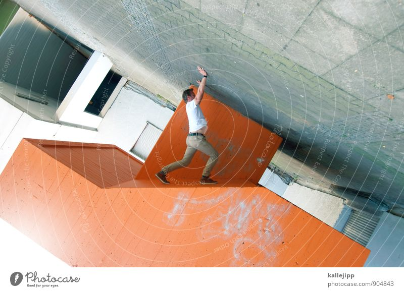 Human being Man City Adults Wall (building) Sports Wall (barrier) Masculine Orange Stairs Body Concrete Political movements Fitness Athletic Rotate