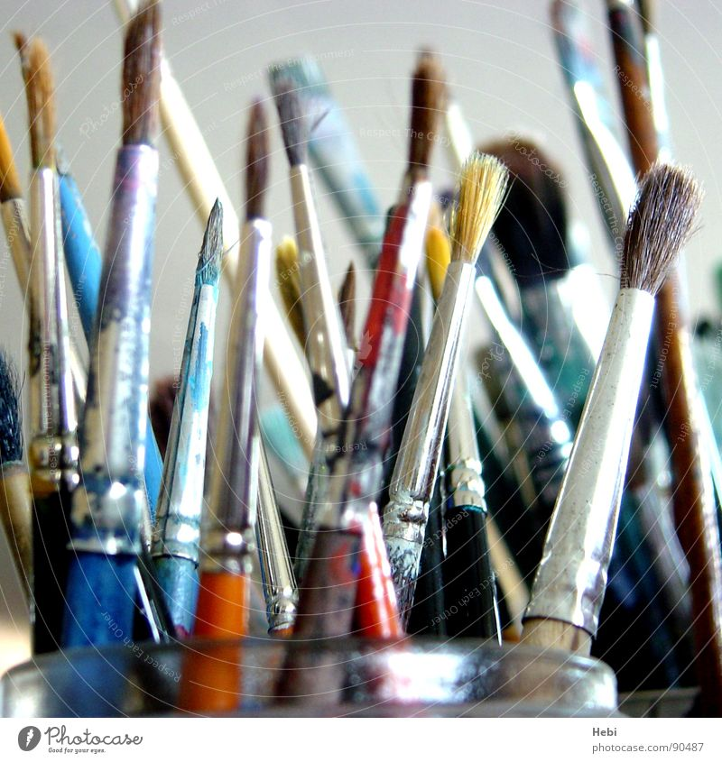 brush stroke Paintbrush Art Painter Atelier Brush stroke Multicoloured Selection Arts and crafts  Culture Colour artist's studio Artist Painting (action, work)