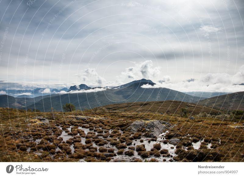 raised bog Vacation & Travel Adventure Far-off places Freedom Mountain Hiking Nature Landscape Elements Sky Clouds Climate Peak Bog Marsh Wanderlust Loneliness