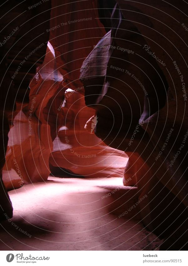 Antelope Canyon III, Arizona, USA Americas Light Wall of rock Rock Ground down scatter Stone Lighting Sun Structures and shapes Nature