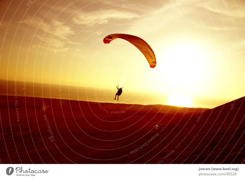 Paragliding II Evening Sunset Beginning Depart Infinity Weightlessness Hover Aviation Funsport South America Sports Desert human dream Dusk