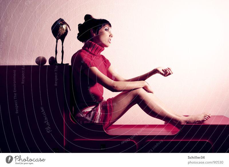 Woman White Beautiful Red Black Feminine Dark Wall (building) Legs Dream Fashion Feet Bright Arm Sit Skin