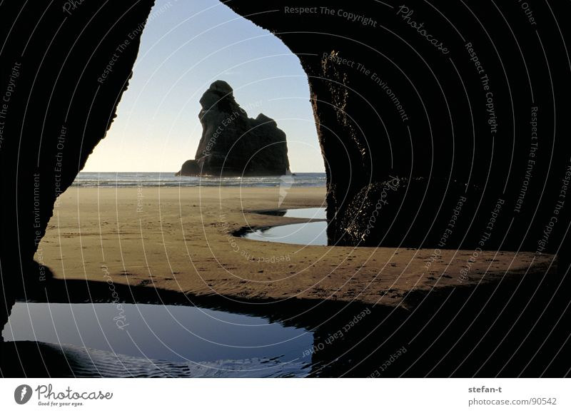 outlook New Zealand North Island Lake Ocean Reflection Black Brown Tunnel Cave Dark Horizon Moody Calm Archway Time Thought Construction Australia Beach Coast