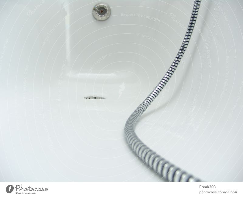 White Room Bathroom Shower (Installation) Deep Silver Bathtub Hose Drainage Simplistic Stopper Shower hose