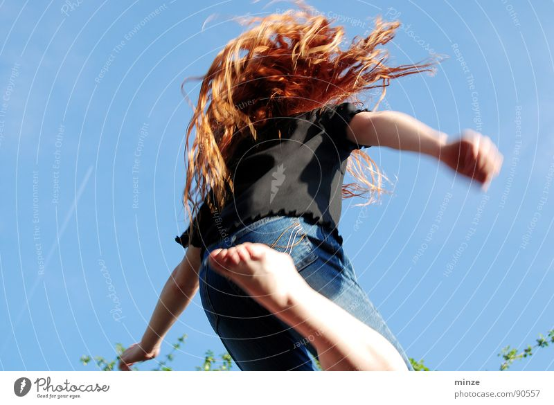 Sky Youth (Young adults) Girl Summer Joy Movement Hair and hairstyles Jump Power Tall Fitness Curl Long-haired Red-haired Hop Child