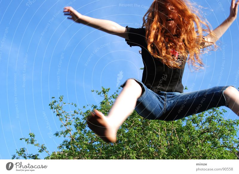 Dana_2 Long-haired Red-haired Jump Trampoline Girl Summer Hop Tall Tree Youth (Young adults) Hair and hairstyles Curl Joy Movement Sky Power Fitness