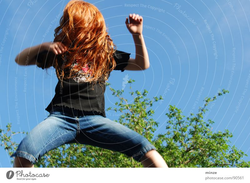 Dana_3 Long-haired Red-haired Jump Trampoline Girl Summer Hop Tall Tree Youth (Young adults) Hair and hairstyles Curl Joy Movement Sky Power Fitness Level
