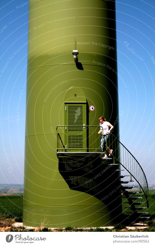 Blue Green Meadow Above Lamp Healthy Door Field Stairs Concrete Speed Tower Industry Fitness Running Wind energy plant