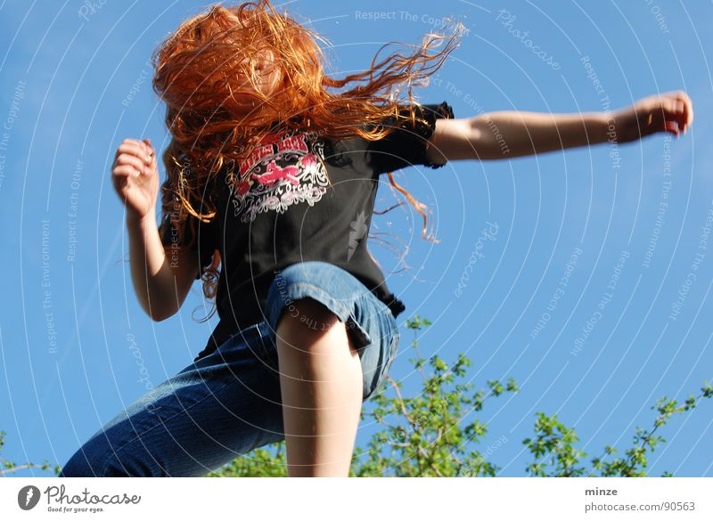 Dana_4 Long-haired Red-haired Jump Trampoline Girl Summer Hop Tall Tree Youth (Young adults) Hair and hairstyles Curl Joy Movement Sky Power Fitness Level