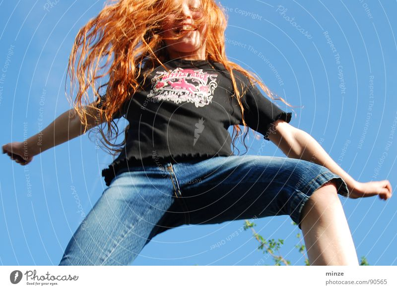 Dana_5 Long-haired Red-haired Jump Trampoline Girl Summer Hop Tall Youth (Young adults) Hair and hairstyles Curl Joy Movement Sky Power Fitness Level