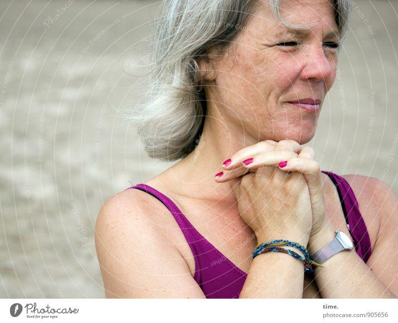 . Feminine Woman Adults 1 Human being T-shirt Accessory Wristwatch Bracelet Nail polish Gray-haired Observe Dream Wait Authentic Friendliness Beautiful Happy