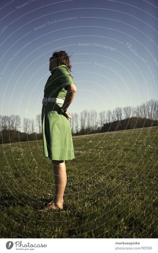 Beautiful view Woman Dress Spring Meadow Barefoot Belt Green Style Seventies Sky Blue Hip & trendy 60ties Fashion