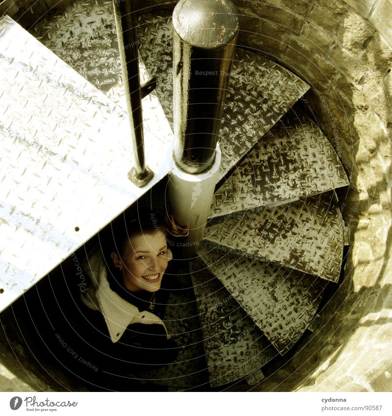 step by step Woman Moody Portrait photograph Happiness Whim Emotions Congenial Light Action Winding staircase Round Descent Go up Vantage point Human being