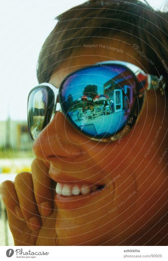 Woman Blue Summer Joy Laughter Brown Mirror Sunglasses Ice-cream parlor