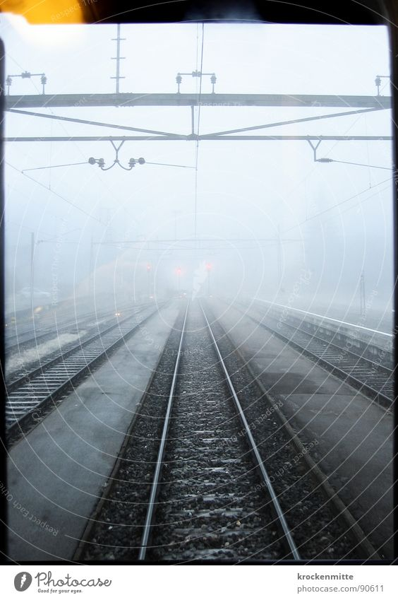 Winter Window Cold Sadness Fog Transport Railroad Electricity Driving Grief Railroad tracks Station Come Goodbye Train station Traffic light