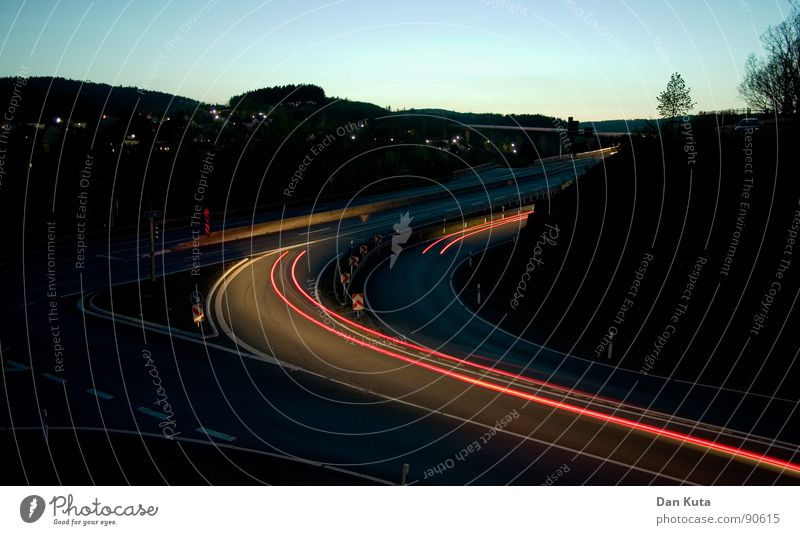 In one go Night Swing Fluid Red Carriage Motor vehicle Speed Twilight Slowly Heat To switch Driving Long exposure Evening Street Light dawn race take the bend