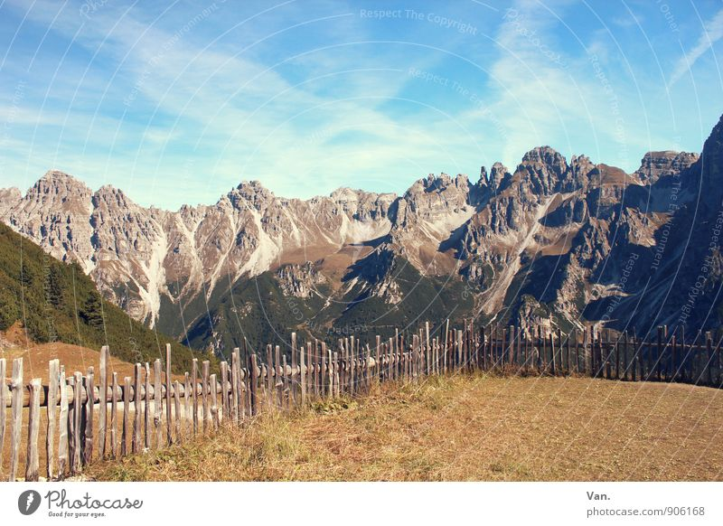 The mountain is calling! Vacation & Travel Mountain Hiking Nature Landscape Sky Clouds Autumn Beautiful weather Grass Meadow Alps Peak Tall Warmth Fence