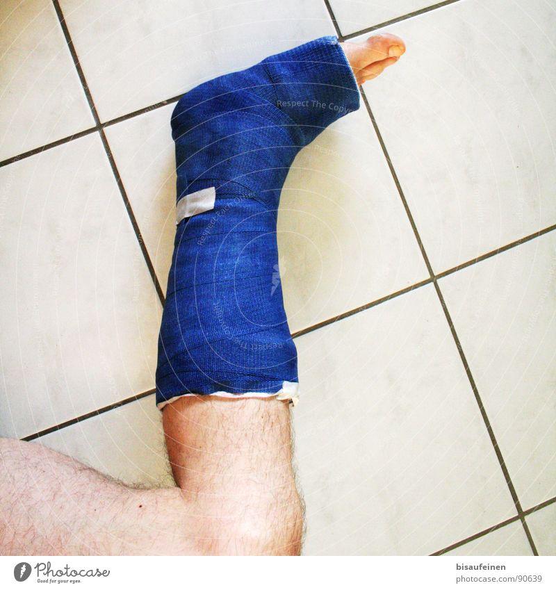 Blue Calm Legs Feet Masculine Broken Tile Illness Accident Toes Needy Wound Gypsum Healing Bandage
