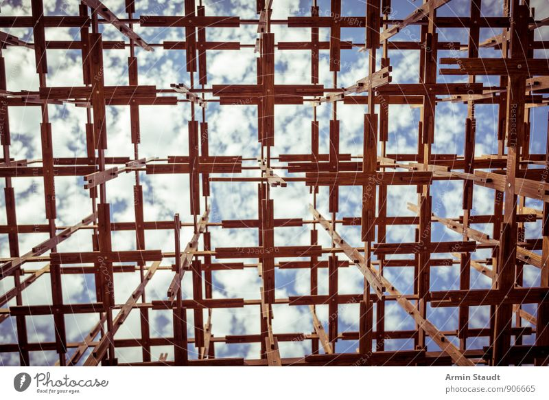 Wooden structure towards the sky Art Installations Sky Sun Summer Beautiful weather Deserted Scaffolding Tourist Attraction Esthetic Sharp-edged Blue Brown