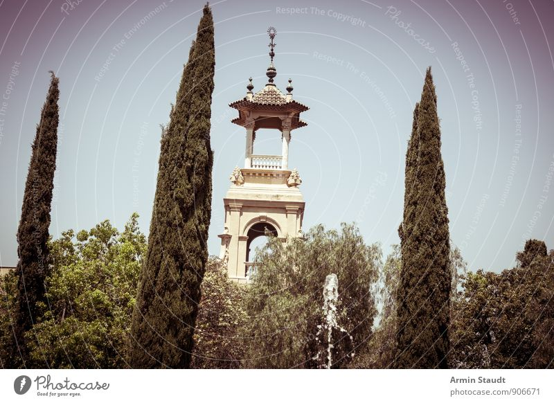 Cypresses, fountains, turrets Summer vacation Nature Cloudless sky Beautiful weather Plant Tree Bushes Park Barcelona Town Deserted Castle Tower