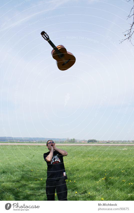 Rock is in the air Scream Loud Air Exterior shot Joy Guitar Sky Bright Freedom