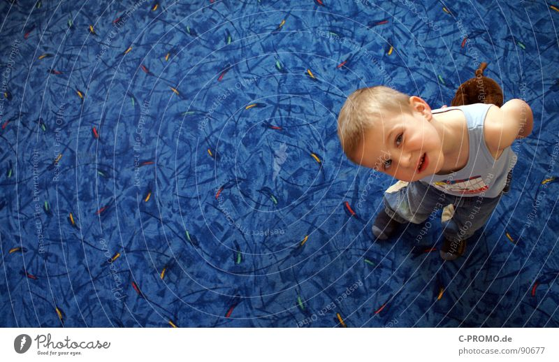 What's the matter, big guy? Carpet Child Toddler Joy Boy (child) Blue Funny Parenting Face educational science Praise authority Maternity leave