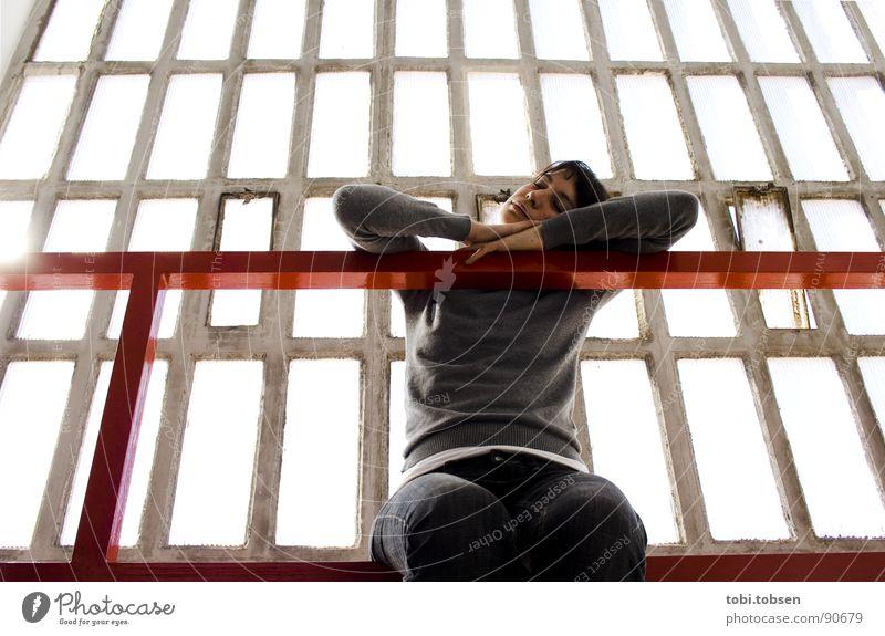 Woman Red Black Gray Dirty Skin Glass Concrete Transparent Handrail