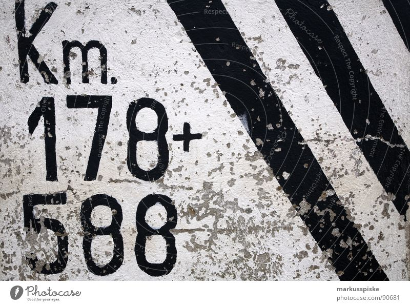 between 178 and 588 km... approx. Kilometer Black White Stripe Decoration Characters Typography Orientation Transport Removal Colour + Traffic infrastructure