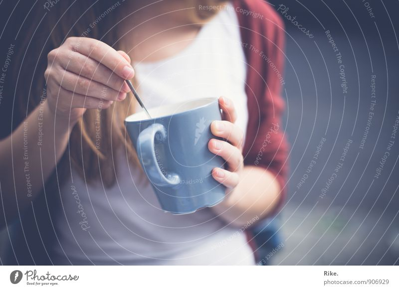 Coffee break. Breakfast To have a coffee Beverage Drinking Hot drink Tea Cup Spoon Lifestyle Healthy Healthy Eating Leisure and hobbies Human being Feminine