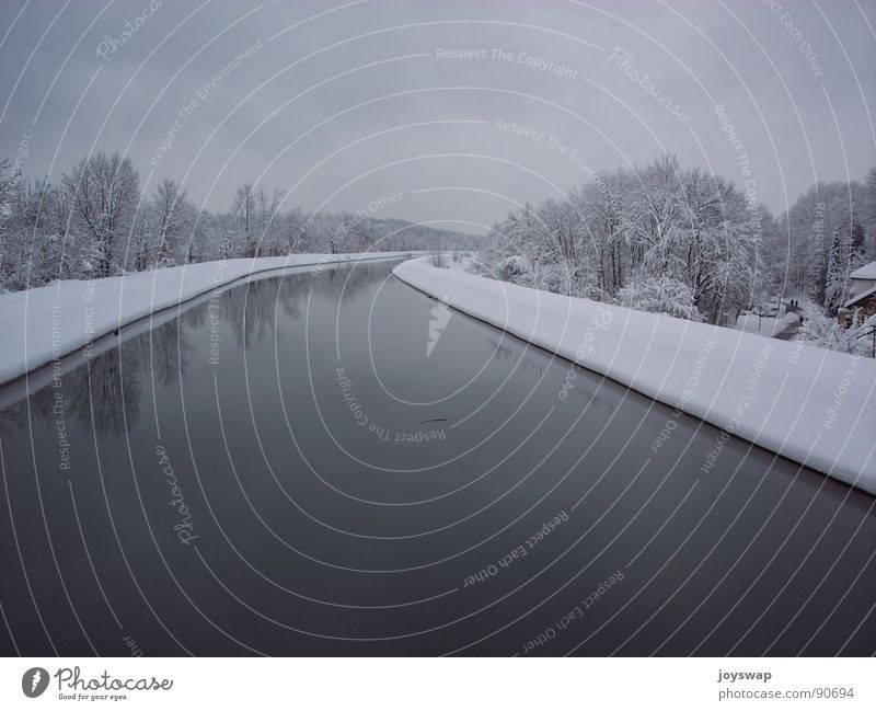 silence Winter Unterföhring Snowscape Cold Wet Water Sewer Isar canal