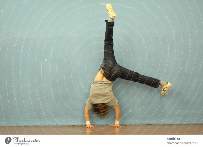 Sports Dancer Force Jeans Fitness Strong Gymnastics Acrobatics Breakdance Gymnasium Gravity Handstand Articulated