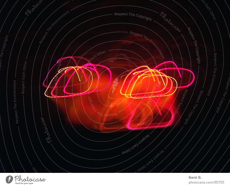 painted love Black Dark Heart-shaped Sincere Pink Light Visual spectacle Long exposure Lamp Romance Multicoloured Red Yellow Illuminating Rotation Rhythm