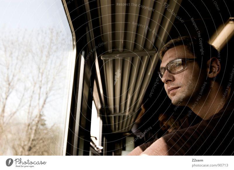 Human being Man Vacation & Travel Far-off places Window Head Think Line Arm Railroad Trip Driving Eyeglasses Stand Railroad tracks Bavaria