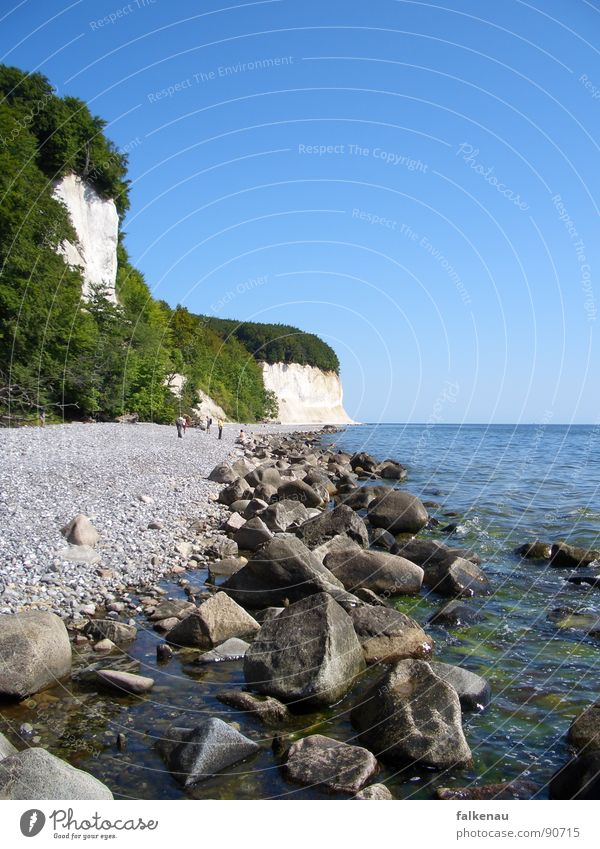 Ocean Summer Beach Vacation & Travel Coast Rock Baltic Sea Gravel Rügen Chalk Cliff Sassnitz