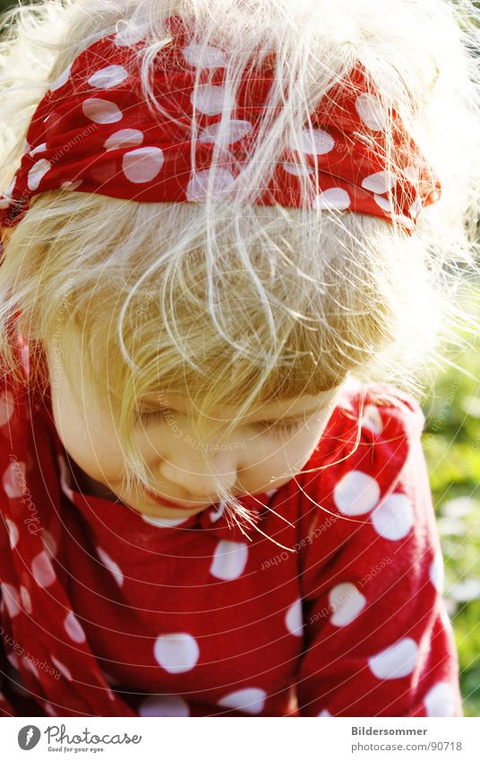 red Child Girl Red Polka Circle Blonde Meadow Relaxation Childlike Portrait photograph White dots Hair and hairstyles Sun Face Point