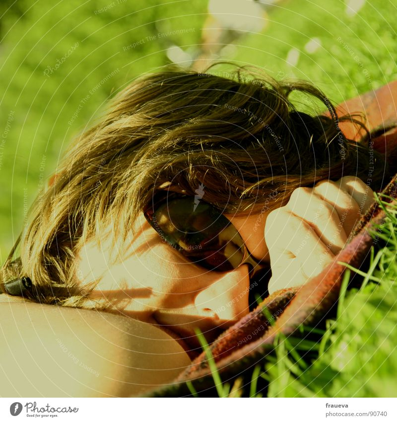 chillin in the sun Meadow Yellow Eyeglasses Relaxation To enjoy Calm Rest Hand Grass Spring Summer Woman Feminine Colour Lie sunglasses chilly Blanket Sun Face