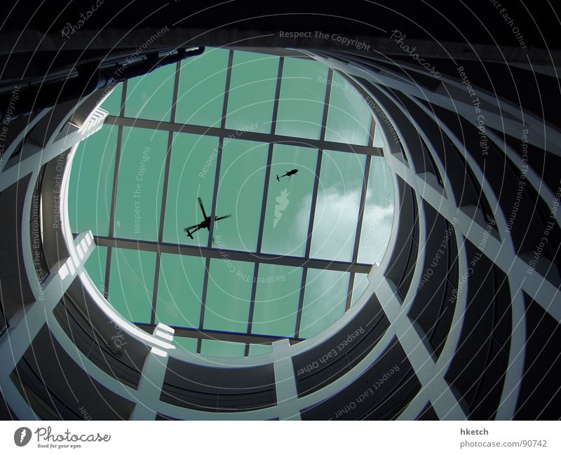 Sky Black Concrete Circle Aviation Dangerous Round Parking garage Helicopter Expressway exit Bobbin Conspiracy