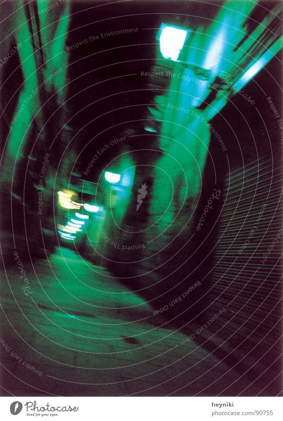 too drunk... one Multicoloured Alley Night Dark Lantern Green Traffic infrastructure Colour Blur blue shrill