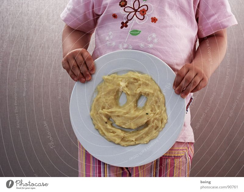 Child Joy Face Nutrition Laughter Head Toddler Plate Vegetable Smiley Potatoes Crockery Vegetarian diet Puree Mashed potatoes Kiddy's plate